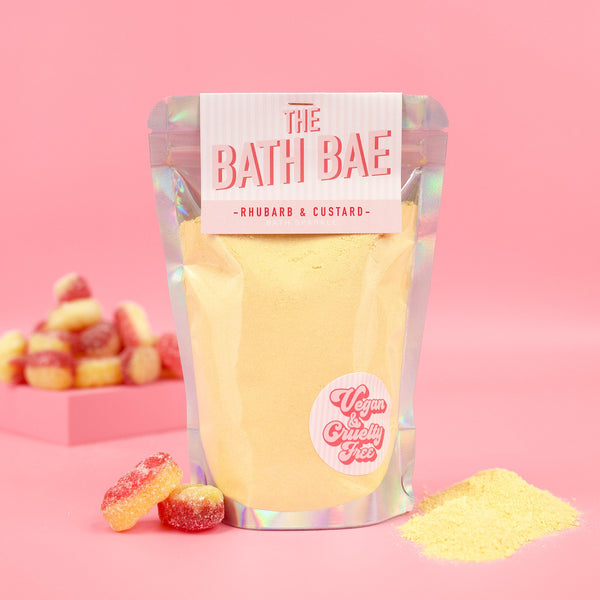 The Bath Bae Rhubarb and Custard Bath Bomb Sparkle Dust