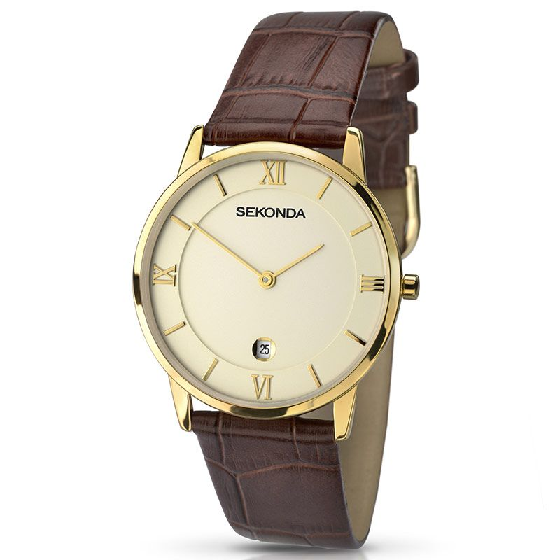 Sekonda Brown Leather Strap Mens Watch 1041 - Hollins and Hollinshead