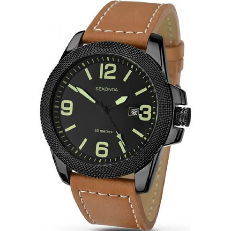 Sekonda Tan Leather Strap Mens Watch 1062 - Hollins and Hollinshead