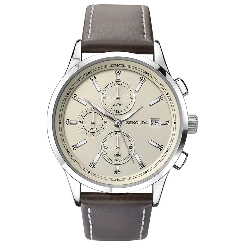 Sekonda Duel Time Leather Strap Mens Watch 1394 - Hollins and Hollinshead