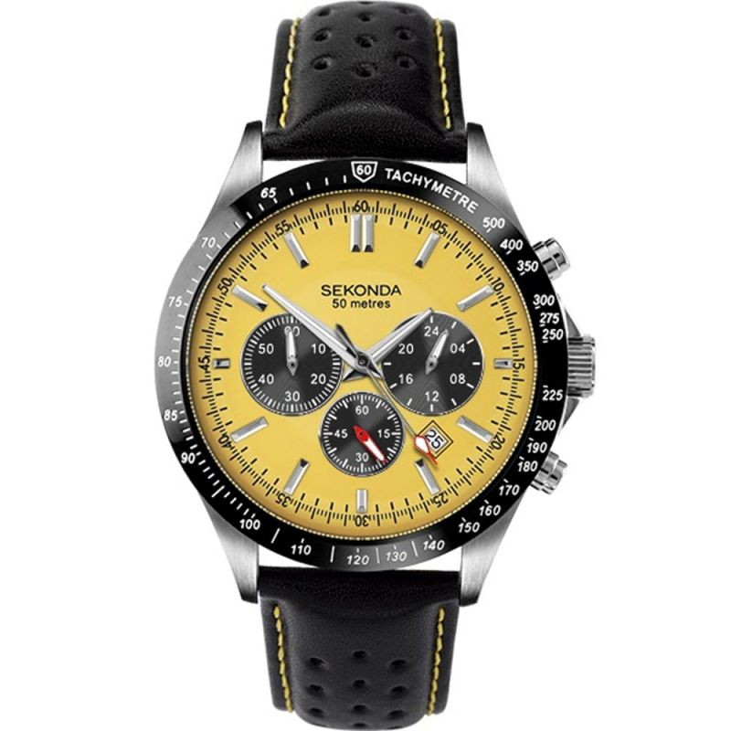 Sekonda Aviator Chronograph Leather Strap Mens Watch 1395 - Hollins and Hollinshead