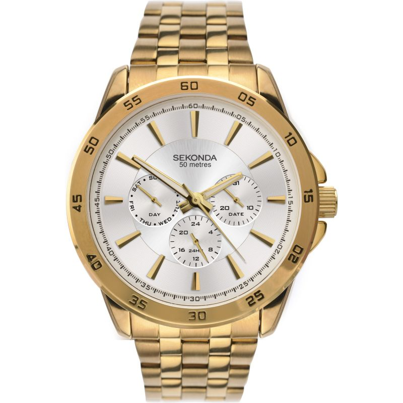 Sekonda Mens Yellow Gold Day Date Watch 1586 - Hollins and Hollinshead