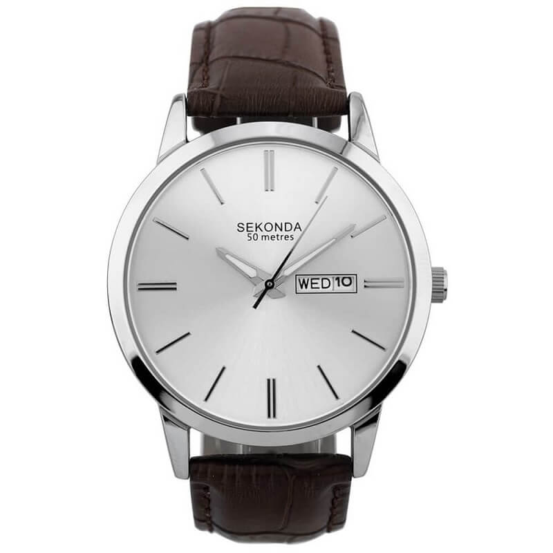 Sekonda Brown Leather Strap Mens Watch 1661 - Hollins and Hollinshead