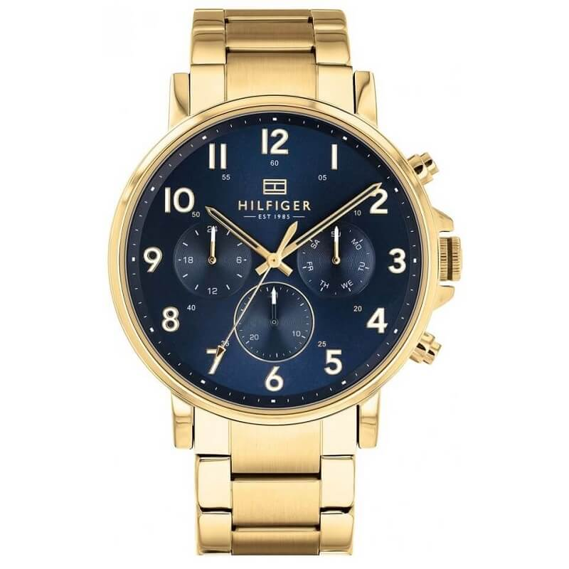 Tommy Hilfiger Daniel Yellow Gold Plated Day Date Mens Watch 1710384 - Hollins and Hollinshead