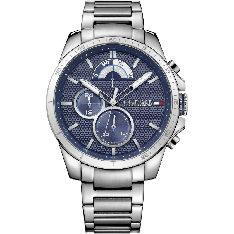 Tommy Hilfiger Steel Day Date Mens Watch 1791348 - Hollins and Hollinshead