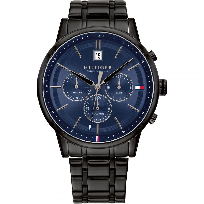 Tommy Hilfiger Black IP Dual Time Mens Watch 1791633 - Hollins and Hollinshead