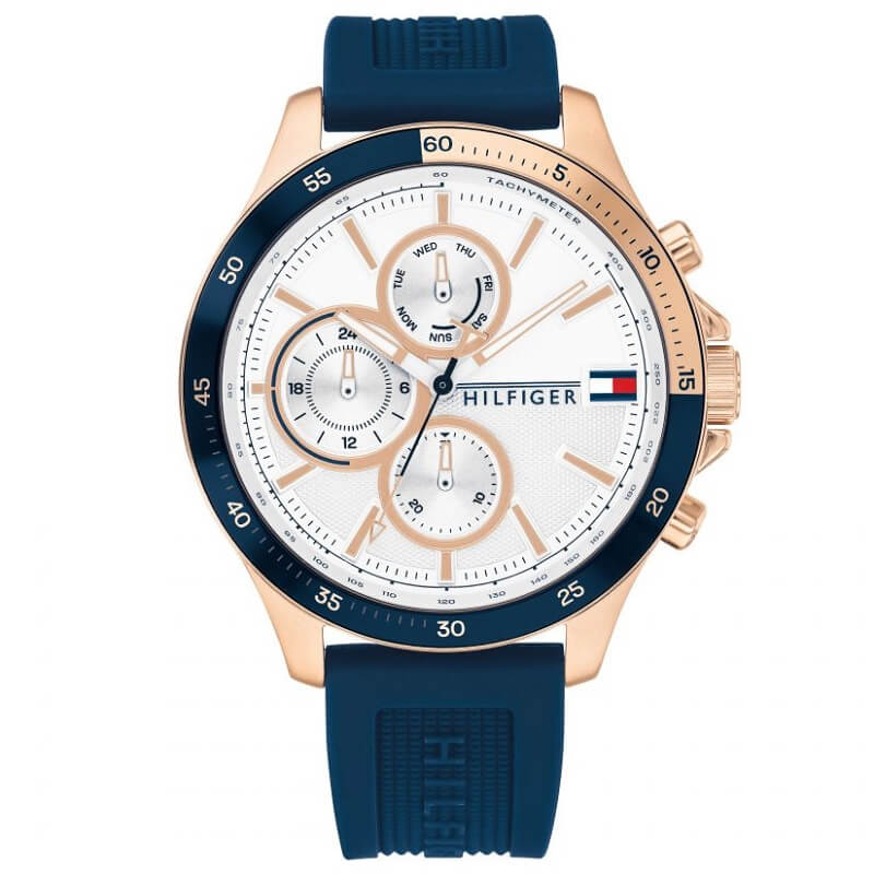 Tommy Hilfiger Bank Blue Day Date Mens Watch 1791778 - Hollins and Hollinshead