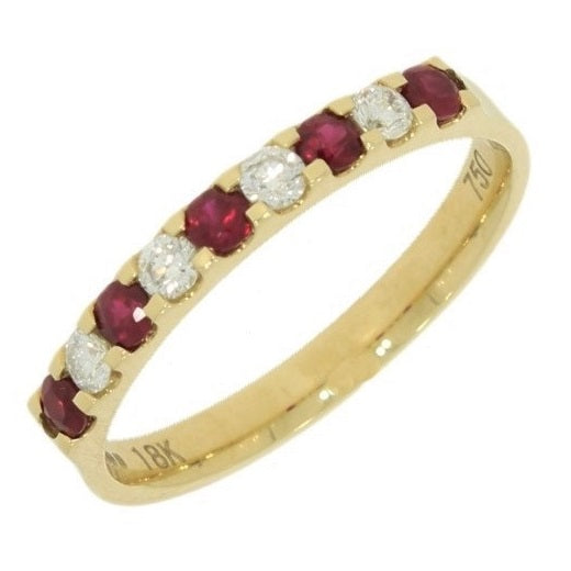 18ct Yellow Gold 0.20ct Diamond and Ruby Half Eternity Ring