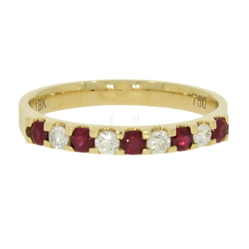18ct Yellow Gold 0.20ct Diamond and Ruby Half Eternity Ring - Hollins and Hollinshead