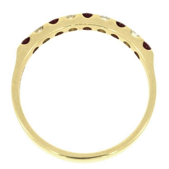 18ct Yellow Gold 0.20ct Diamond and Ruby Half Eternity Ring Side