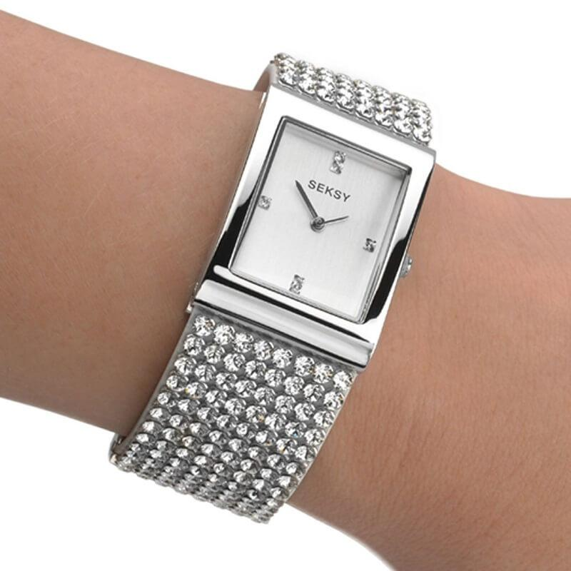 Seksy Krystal Silver Swarovski Crystal Ladies Watch 2375 - Hollins and Hollinshead