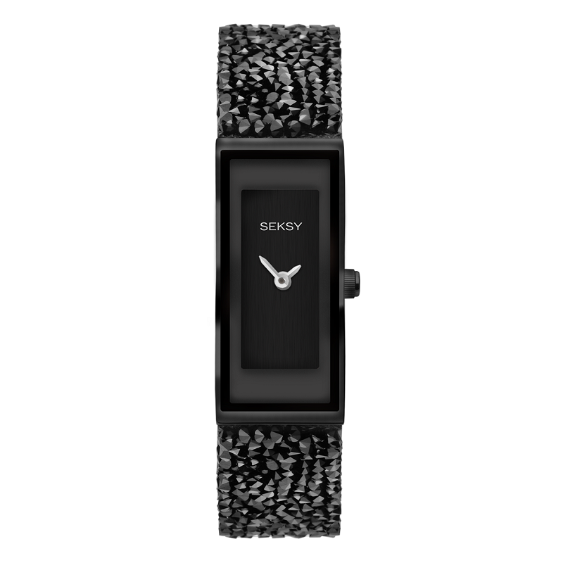 Seksy Rocks Black Swarovski Crystal Ladies Watch 2577 - Hollins and Hollinshead