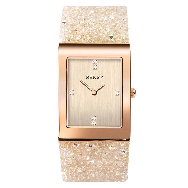 Seksy Rocks Rose Swarovski Crystal Ladies Watch 2722 - Hollins and Hollinshead