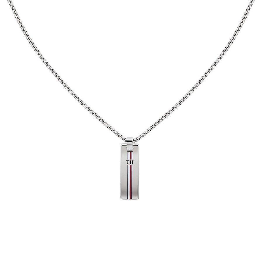 Tommy Hilfiger Dressed Up Rhodium Skinny Dog Tag Necklace 2790169 - Hollins and Hollinshead