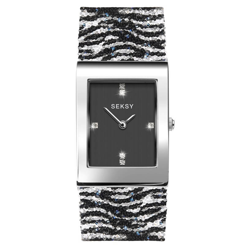 Seksy Rocks Rhodium Zebra Print Swarovski Crystal Ladies Watch 2853 - Hollins and Hollinshead