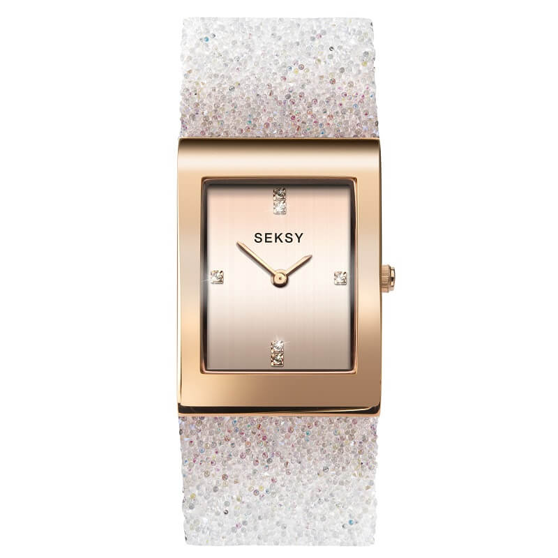 Seksy Rocks Rose Swarovski Crystal Ladies Watch 2858 - Hollins and Hollinshead