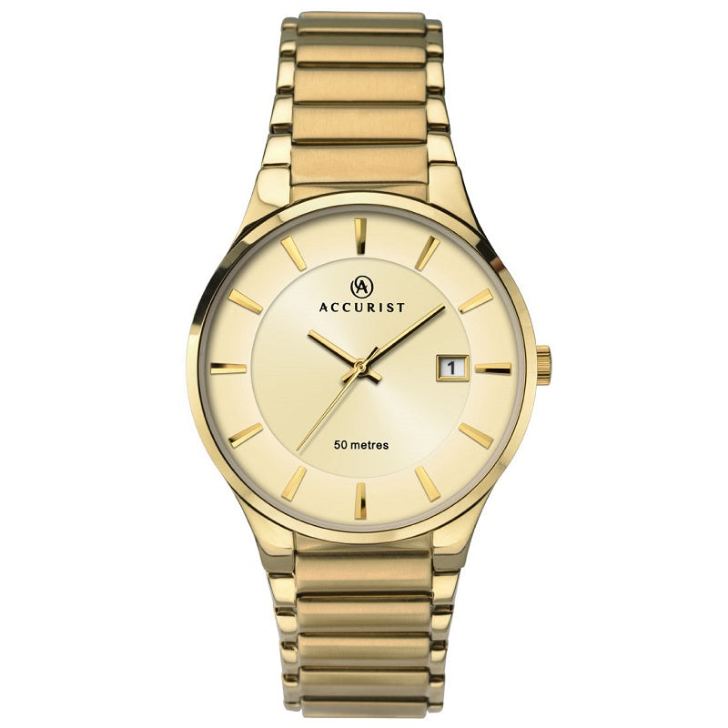 Accurist Gold Plated Date Mens Watch 7008 - Hollins and Hollinshead