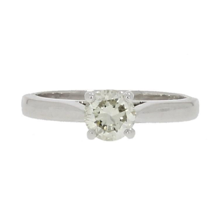 18ct White Gold 0.60cts Solitaire Ring Brilliant Cut Diamond - Hollins and Hollinshead