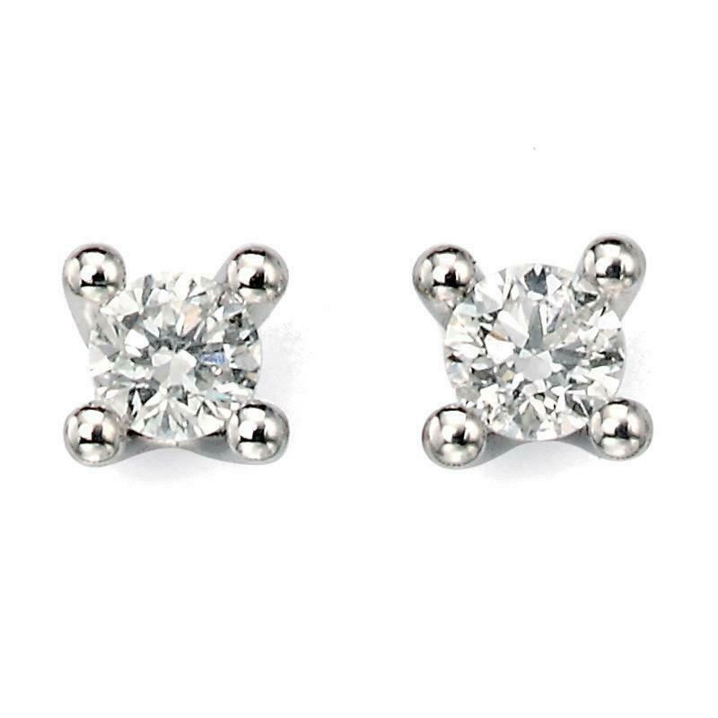 9ct White Gold 0.20ct Solitaire Diamond Earrings GE938 - Hollins and Hollinshead