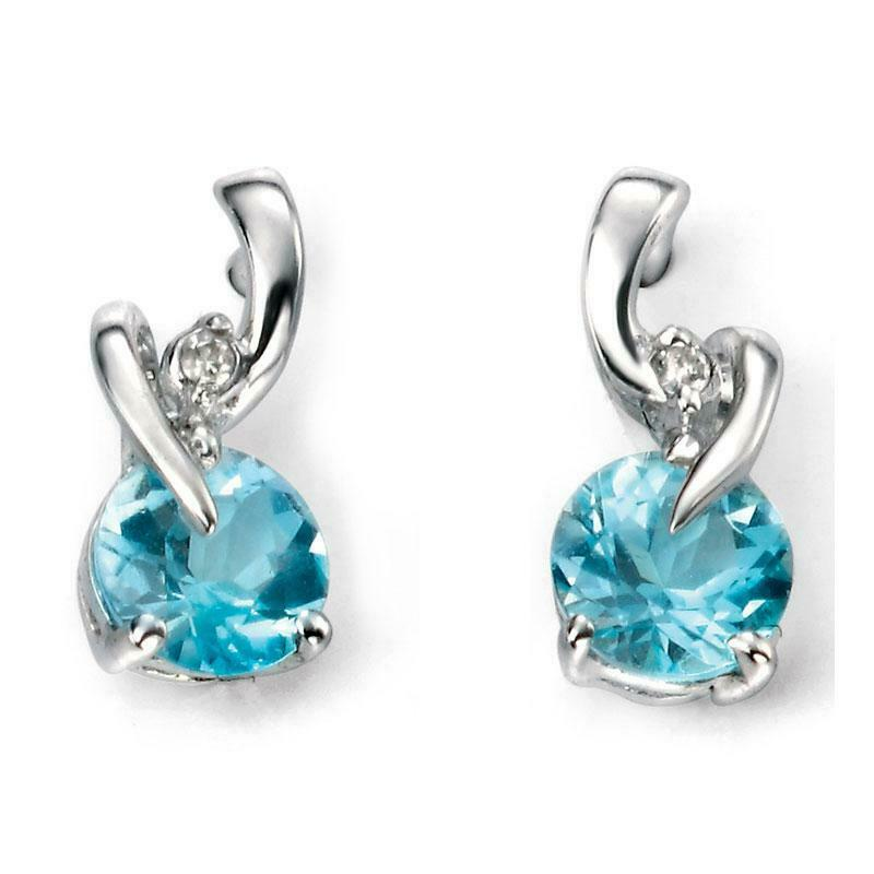 9ct White Gold Blue Topaz and Diamond Earrings GE994T - Hollins and Hollinshead
