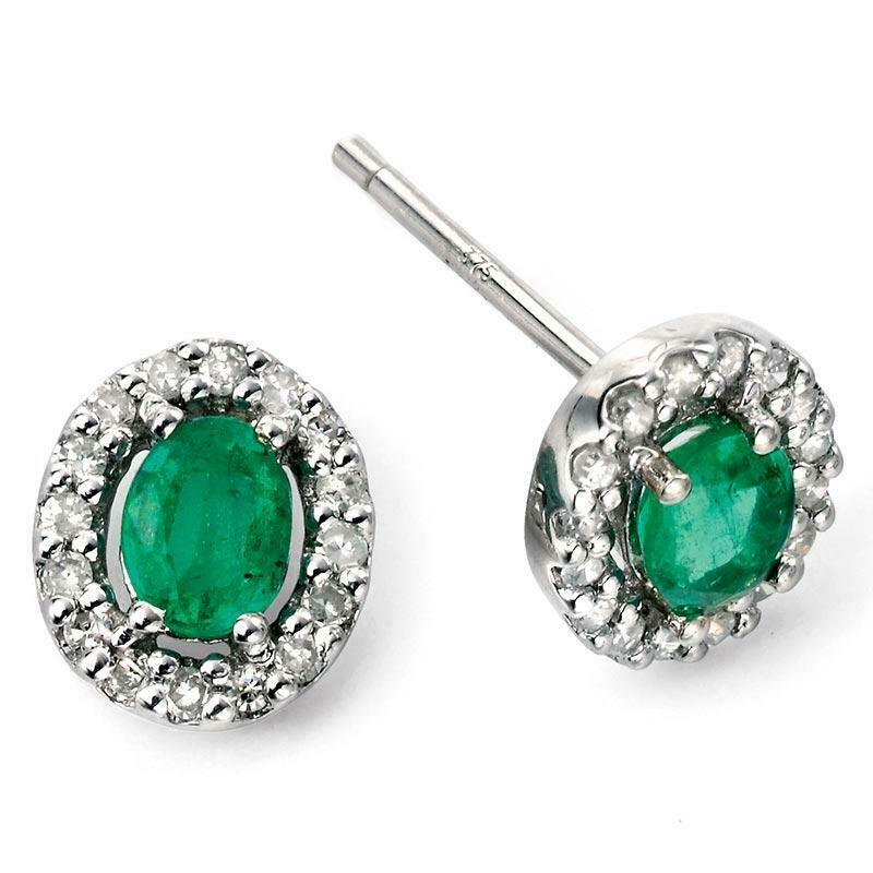 9ct White Gold Emerald and Diamond Earrings GE943G - Hollins and Hollinshead