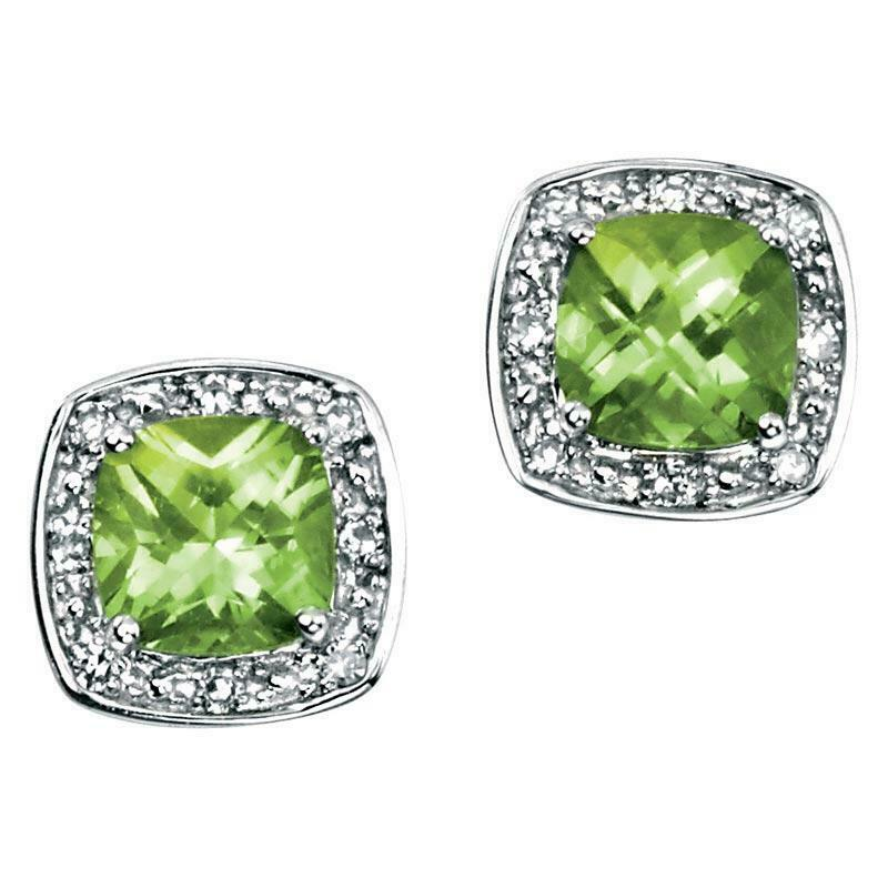 9ct White Gold Peridot and Diamond Earrings GE731G - Hollins and Hollinshead