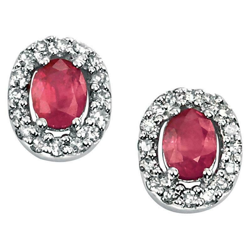 9ct White Gold Ruby and Diamond Earrings GE703R - Hollins and Hollinshead
