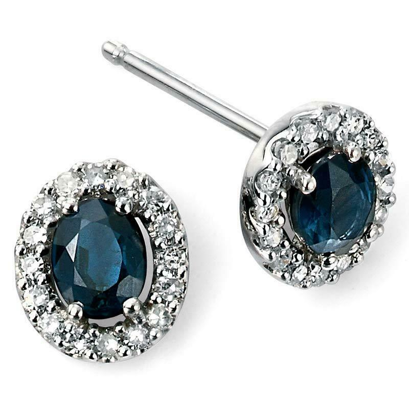 9ct White Gold Blue Sapphire and Diamond Earrings GE943L - Hollins and Hollinshead