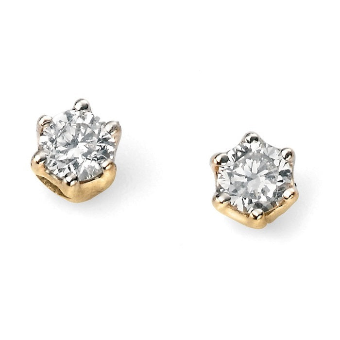 9ct Yellow Gold 0.15ct Solitaire Diamond Earrings GE956 - Hollins and Hollinshead