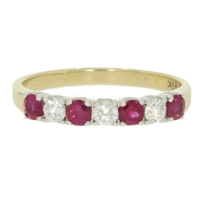 9ct Yellow Gold 0.21ct Diamond & Ruby Half Eternity Ring - Hollins and Hollinshead
