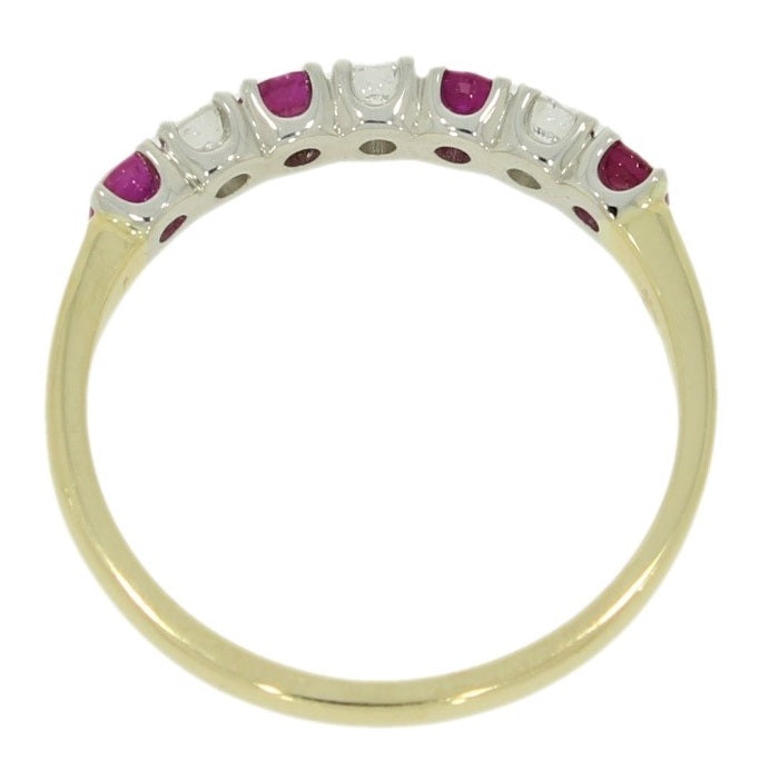 9ct Yellow Gold 0.21ct Diamond & Ruby Half Eternity Ring Side