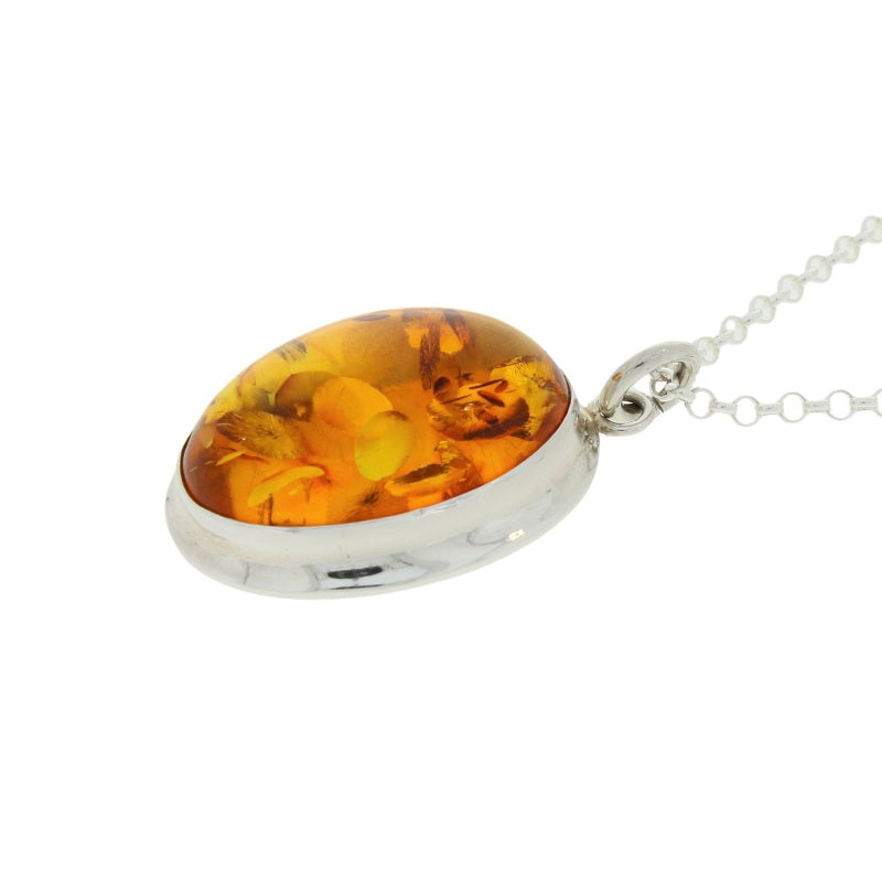 Amber Sterling Silver Oval Pendant & Chain - Hollins and Hollinshead