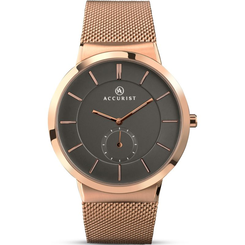 Accurist Mens Rose Gold Plated Mesh Bracelet Watch 7016 - Hollins and Hollinshead