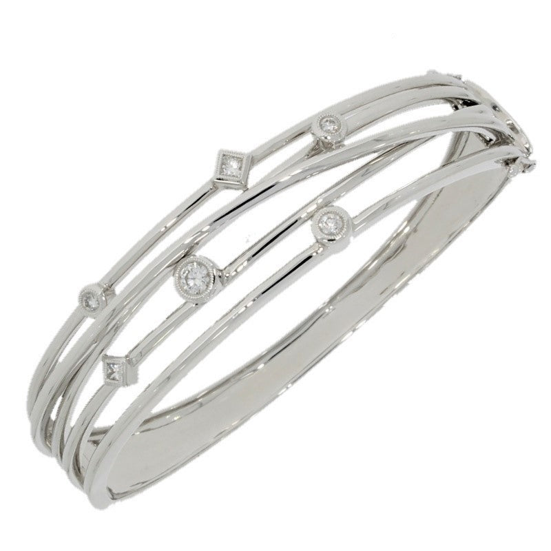 Pre Owned 18ct White Gold 0.49cts Raindance Diamond Set Bangle Bracelet - Hollins and Hollinshead