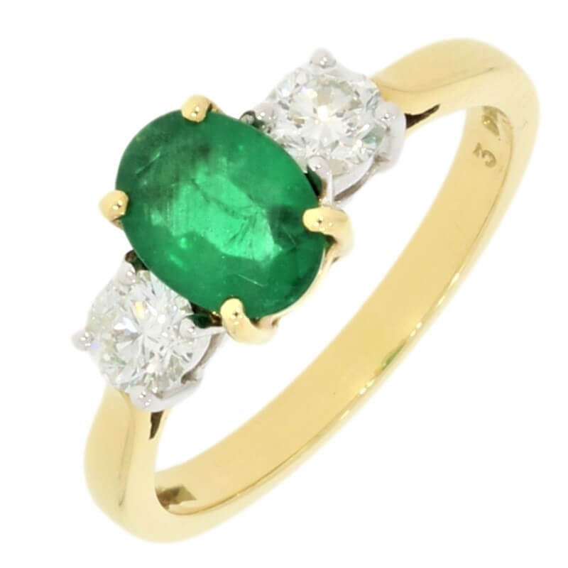 18ct Yellow Gold Oval Emerald and Diamond Trilogy Ring - Hollins and Hollinshead