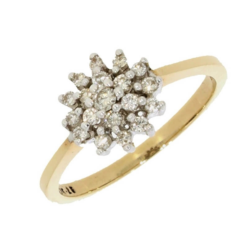 Pre Owned 9ct Gold 0.25ct Diamond Cluster Ring Boxed - Hollins and Hollinshead