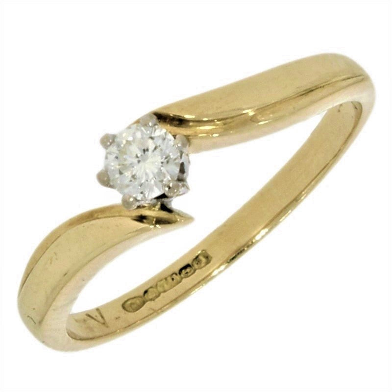 Pre Owned 18ct Yellow Gold 0.15ct Diamond Solitaire Ring - Hollins and Hollinshead