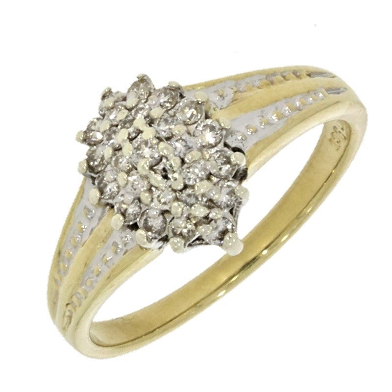 Pre Owned 9ct Yellow Gold 0.25ct Diamond Cluster Ring - Hollins and Hollinshead