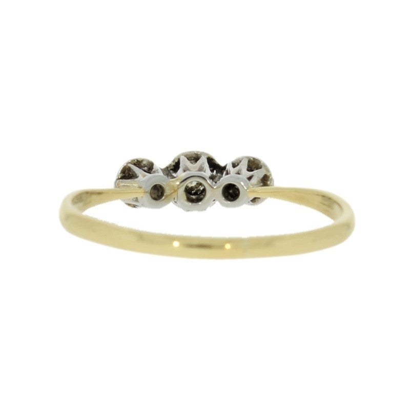 Pre Owned 18ct Yellow Gold Three Stone 0.12cts Diamond Ring Back