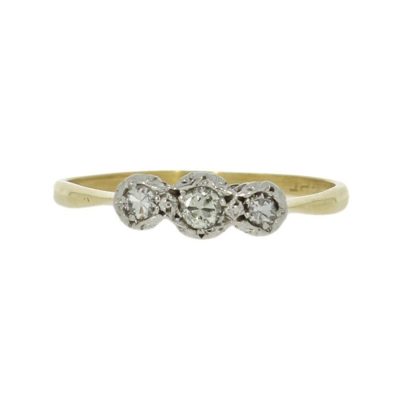 Pre Owned 18ct Yellow Gold Three Stone 0.12cts Diamond Ring Setting