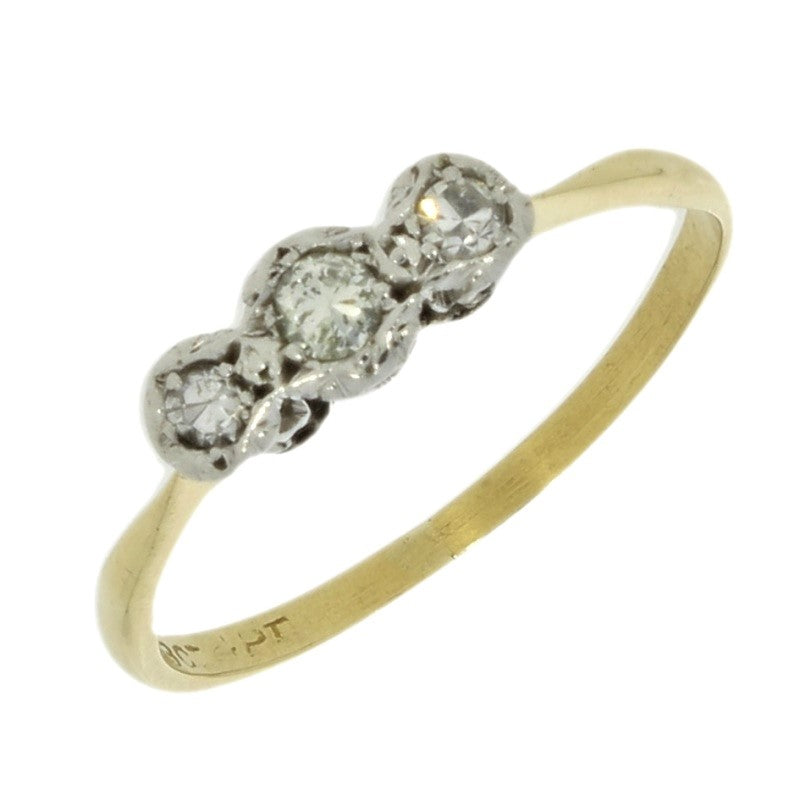 Pre Owned 18ct Yellow Gold Three Stone 0.12cts Diamond Ring