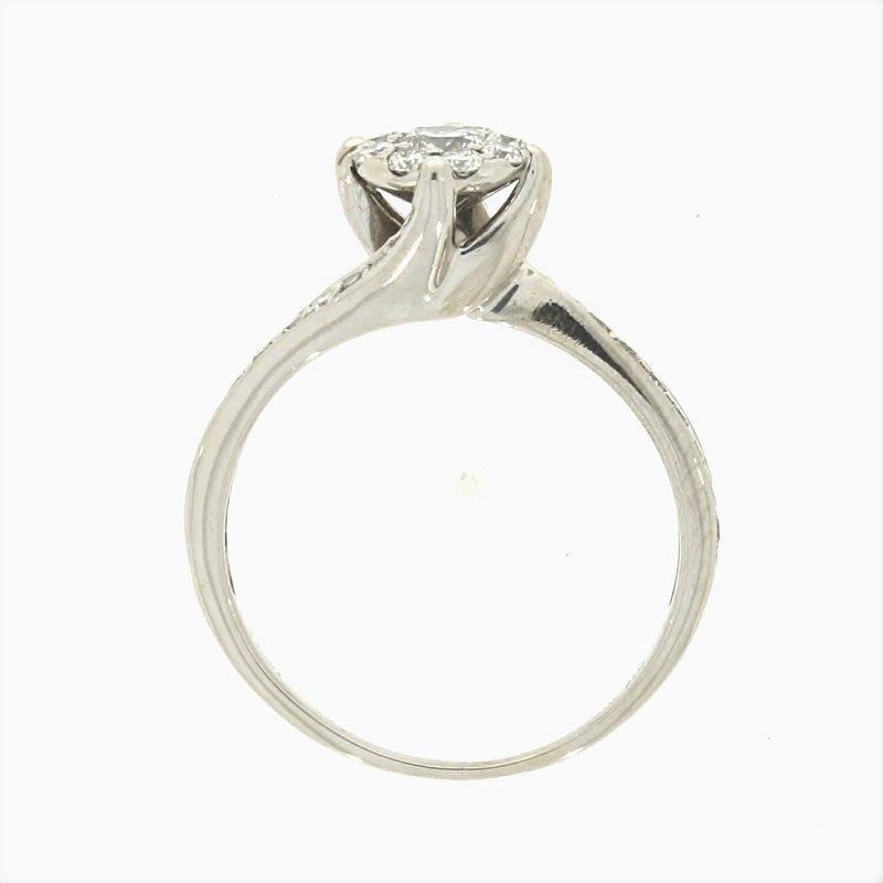 Pre Owned 9ct White Gold Diamond Solitaire Style Cluster Ring - Hollins and Hollinshead