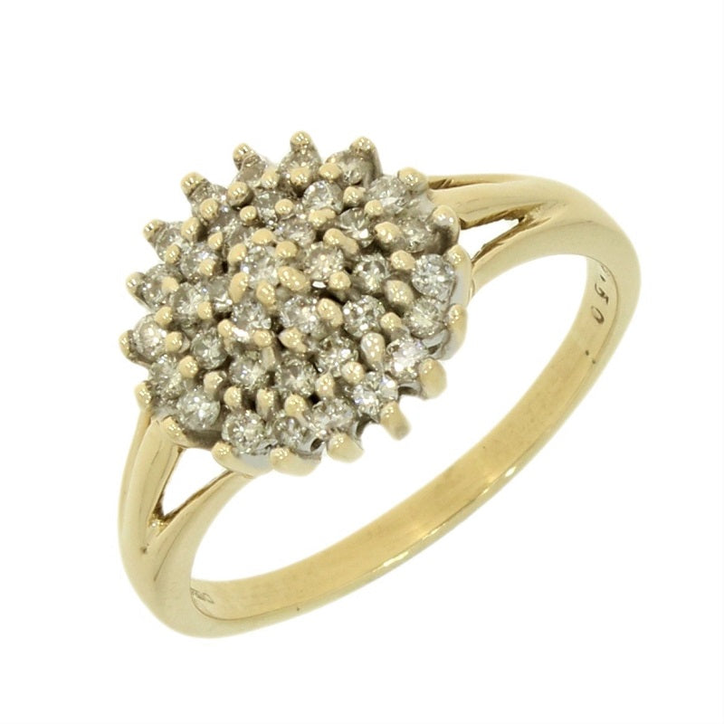 Pre Owned 9ct Yellow Gold 0.50ct Diamond Cluster Ring Video
