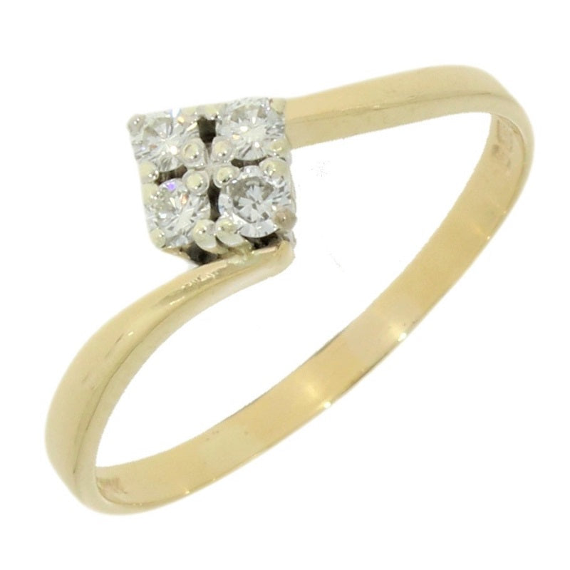 Pre Owned 9ct Yellow Gold 0.16cts Diamond Dress Ring Video