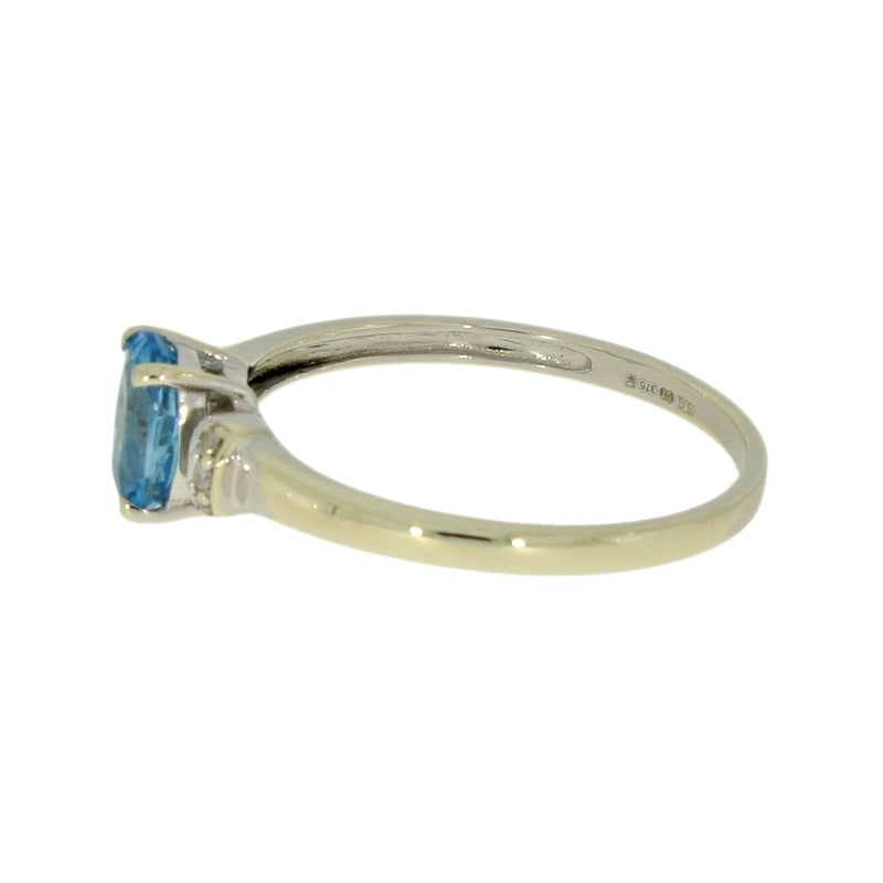 Pre Owned 9ct White Gold Diamond And Blue Topaz Dress Ring - Hollins and Hollinshead
