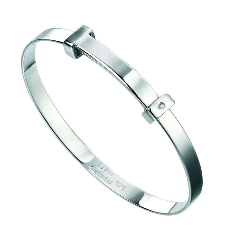 D for Diamond Sterling Silver Baby Bangle B5060 - Hollins and Hollinshead