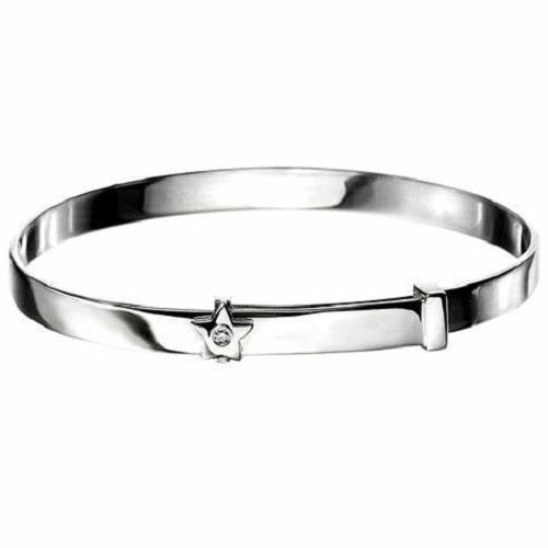 D for Diamond Star Sterling Silver Baby Bangle B772 - Hollins and Hollinshead