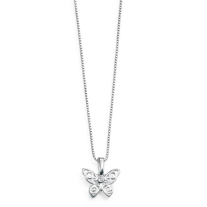 D for Diamond Sterling Silver Butterfly Childrens Necklace P3567 - Hollins and Hollinshead
