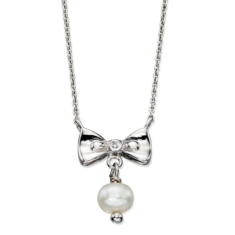 D for Diamond Sterling Silver Pearl Bow Girls Necklace N4077 - Hollins and Hollinshead