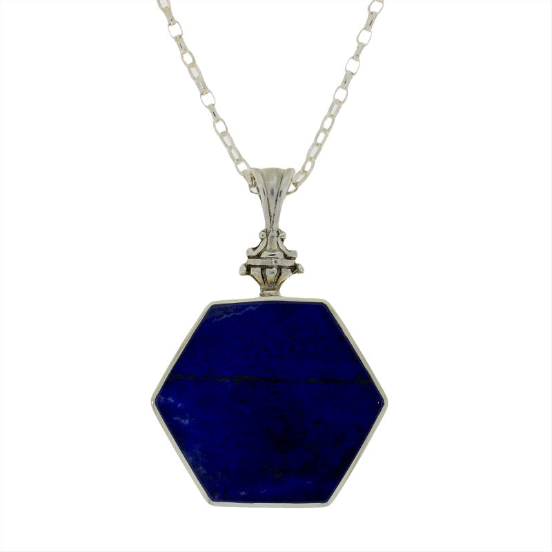 Derbyshire Blue John Silver Hexagonal Reversible Pendant & Chain - Hollins and Hollinshead